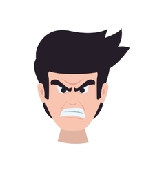 Face man angry expression cartoon icon vector
