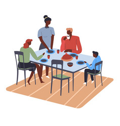family preparing for dinner eating parents and vector image