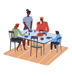 Family preparing for dinner eating parents vector