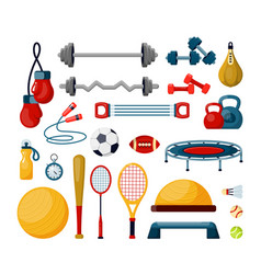 fitness tools flat set vector image