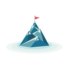 Flag on the mountain peak vector