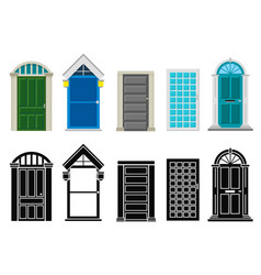 front house doors flat and silhouette set vector image
