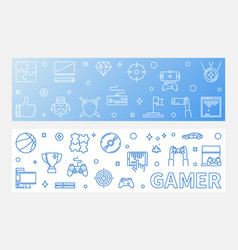 gamer concept outline horizontal banners vector image
