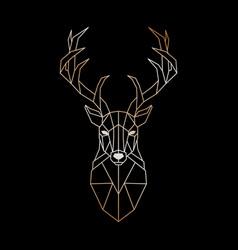 geometric head a wild deer abstract gold deer vector image