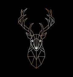 geometric head of a wild deer abstract gold deer vector image