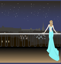 girl in evening dress on background the vector image