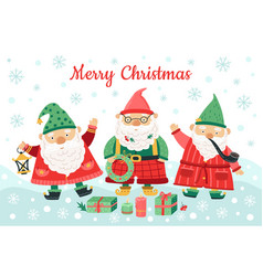 gnomes christmas characters funny dwarfs smiling vector image