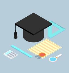 Graduation cap diploma school accessories vector
