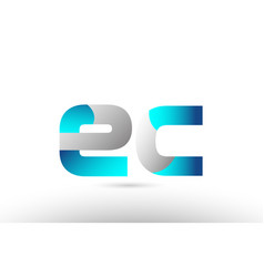 Grey blue alphabet letter ec e c logo 3d design vector
