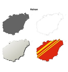 Hainan blank outline map set vector image