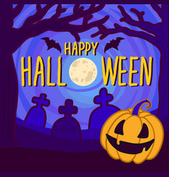 halloween full moon concept background hand drawn vector image