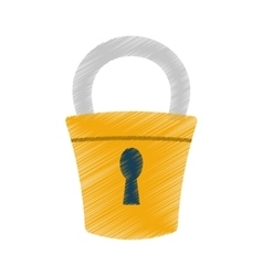 Hand draw padlock lock security money color vector