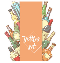 Hand drawn bottles menu design wine cognac vector