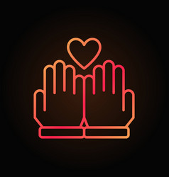 hands and heart line colored icon on dark vector image