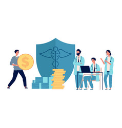 Healthcare investment man holding money doctors vector