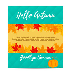 hello autumn background with pumpkin and foliage vector image