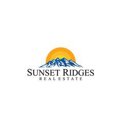 high mountain with sun vector image