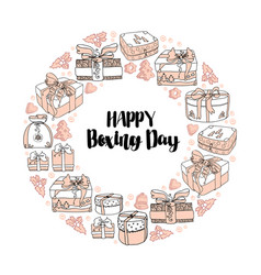 holiday gift boxes and text happy boxing day vector image