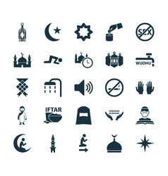 Holiday icons set collection of malay mosque vector