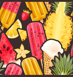 ice cream fruits and berries seamless pattern vector image