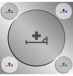icon with bed and cross vector image vector image