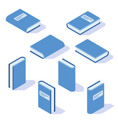 isometric book with shadow from different angles vector image