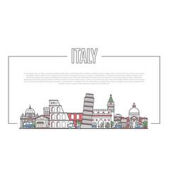 Italy landmark panorama in linear style vector