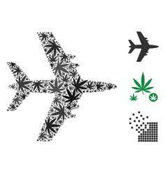 Jet plane mosaic of marijuana vector