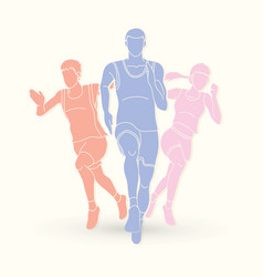 Marathon runner start running group of people vector
