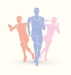 Marathon runner start running group of people vector