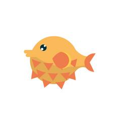 Marine life globefish cartoon sea fauna animal vector