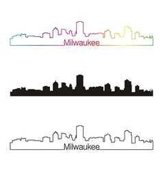 Milwaukee skyline linear style with rainbow vector image