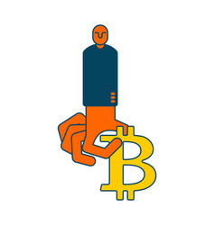 Miner bitcoin is businessman guy cryptocurrency vector
