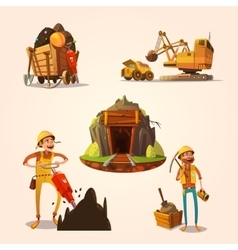 Mining cartoon set vector image