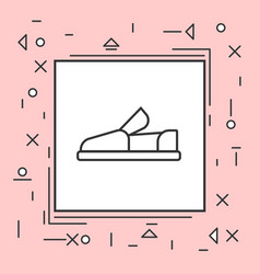 moccasin shoes icon thin line in pink frame vector image