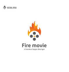 movie roll cinema with fire flames logo design vector image