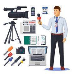news reporter with microphone journalism item vector image