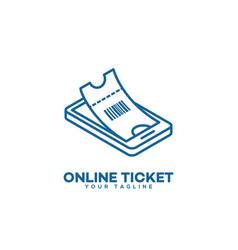 Online ticket logo vector