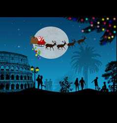 people at night in rome with santa claus vector image