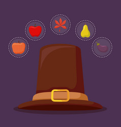 Pilgrim hat of thanksgiving day with set icons vector
