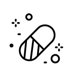 pill or capsule isolated line icon tablet or vector image