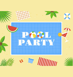 Pool party top view swimming pool vector