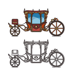 Queen carriage or retro wedding chariot buggy vector