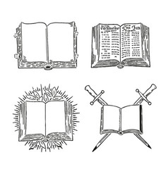 Retro book set engraving old style vector