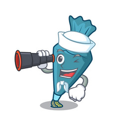Sailor with binocular pastrybag mascot cartoon vector