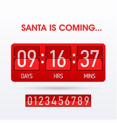 santa is coming christmas countdown timer vector image