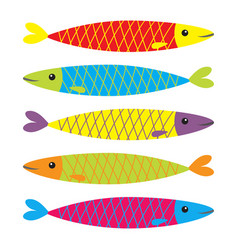sardine colorful fish icon set iwashi sardina vector image