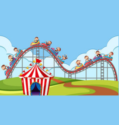 Scene with monkeys riding on roller coaster in vector
