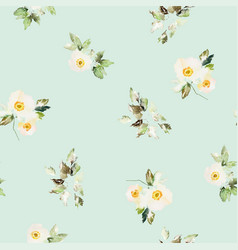 Seamless watercolor pattern with anemones bouquet vector
