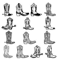 set cowboy boots in vintage monochrome vector image